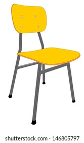wooden school chair used in the classroom with the stand. Vector illustration. isolated on white background