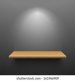 Wooden shelf on dark wall. Vector.