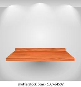 Wooden shelf on gray wall, vector eps10 illustration