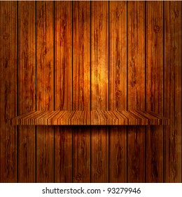 wooden shelf on wooden wall. Vector illustration. Eps 10
