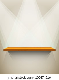 Wooden shelf with place for your exhibit, vector illustration, eps10, 3 layers, easy editable