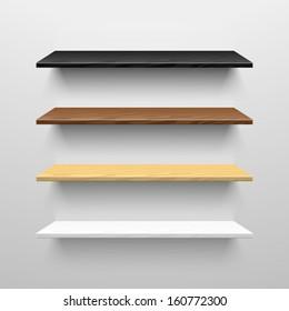 Wooden shelves. Vector.