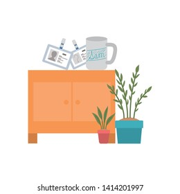 wooden shelving in white background icon
