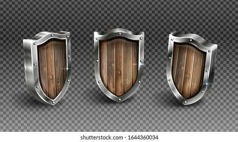 Wooden shield with metal frame vector set, medieval knight ammo, wood guard with steel border award trophy, military armor front side view isolated on transparent background realistic 3d icon, clipart