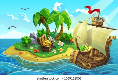 Wooden ship near the tropical island with palms and treasure chest. vector illustration.