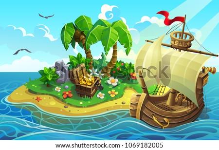 Wooden ship near the