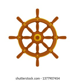 Wooden ship rudder. Ship wheel icon. Vector illustration, flat cartoon style. Isolated on white background.