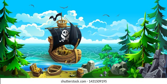 Wooden ship with sails. Pirates in search of treasure chests. Rocky coastline with firs and sandy beach. Vector illustration.