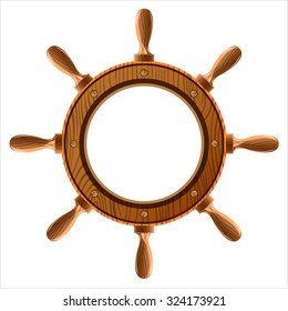 wooden ship wheel on a white background