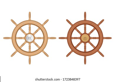 Wooden ship wheel set vector illustration isolated on white background