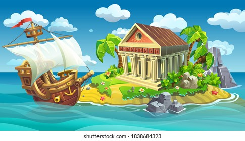 Wooden ship with white sails near island with antique temple. Adventure, journey in search of an ancient treasure.
