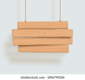 Wooden Sign 4 Line Title Banner Plain 3d Hanging From Rope