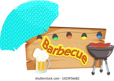 Wooden sign for barbecue invitation. With sun umbrella, beer, grill and party lights