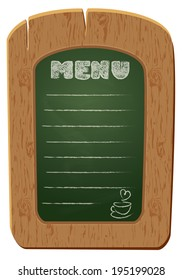 Wooden sign board - object isolated on white background. Freehand drawing on the chalkboard: word MENU and cup of coffee.