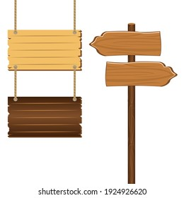 Wooden sign boards blank empty planks or signboards.  Road sign, pointers for information, advertising. Arrow shapes empty wooden for message illustration vector