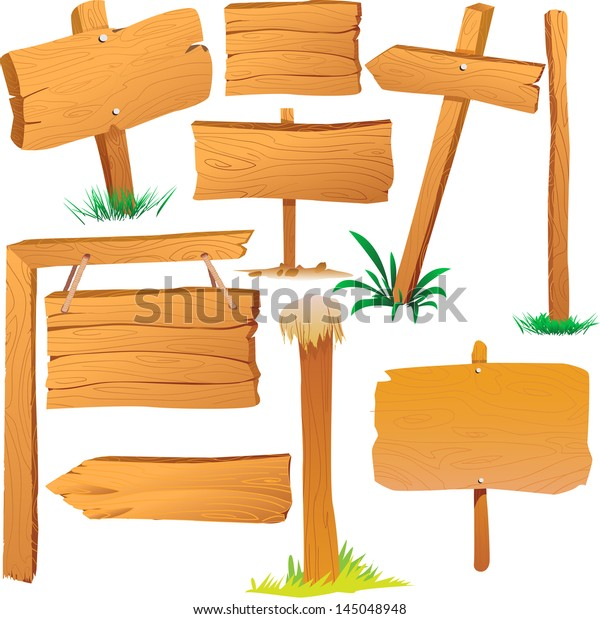 Wooden Sign Boards Cartoon Style Stock Vector Royalty Free 145048948