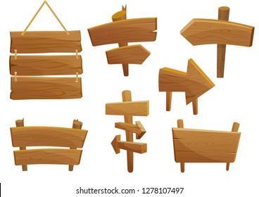 Wooden sign boards cartoon vector illustration set.