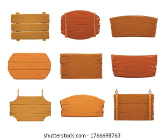 Wooden sign boards vector design of old wood plank signboards and timber panel banners with nails, hanging on ropes and chains. Blank cartoon plaques, billboards, signposts and pointers