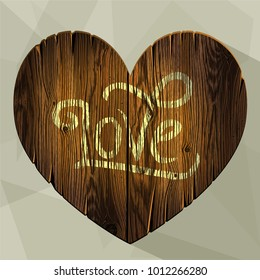 Wooden sign. Dark brown wood board in a heart shape. Romantic background. Photorealistic, hand drawn, no tracing.