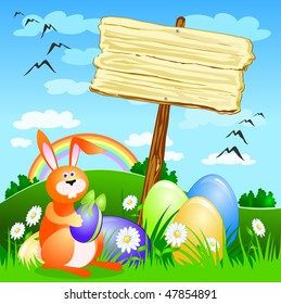 Wooden sign with the Easter theme setting spring, vector