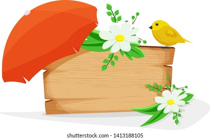 Wooden sign with floral theme