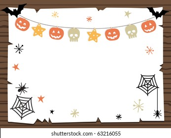 wooden sign with halloween party notice ready for your text