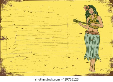 Wooden sign, Hula girl playing ukulele