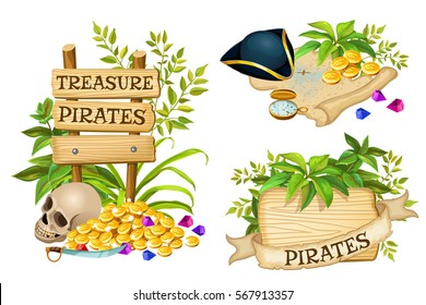 Wooden sign with leaves and pirate accessories with space for text. Elements for games, posters, banners.