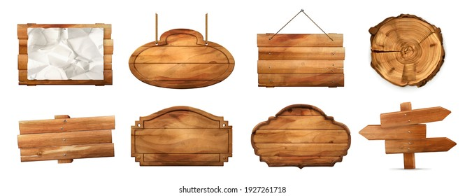 Wooden sign with old texture 3d vector realistic set