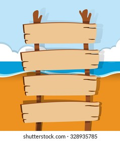 Wooden sign on the beach illustration