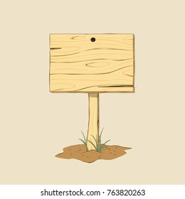Wooden sign on ground. doodle style. Isolated Vector Illustration.
