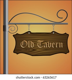 Wooden sign on metal pole with Old Tavern label