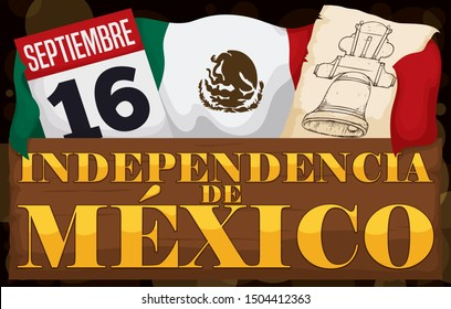 Wooden sign with patriotic elements to celebrate Mexico's Independence Day (written in Spanish): Mexican flag, scroll with Hidalgo's bell and calendar with this holiday, September 16.
