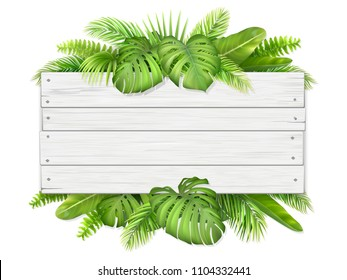 Wooden sign with place for text on exotic tropical leaves background. Vector realistic illustration for decorating a greeting card, invitation or vacation advertising.
