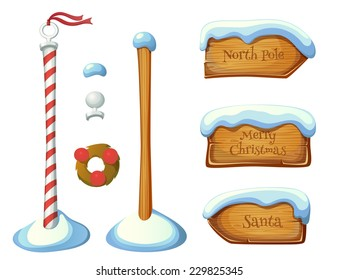 Wooden sign post elements. Christmas set. EPS 10. Transparency. Gradients.