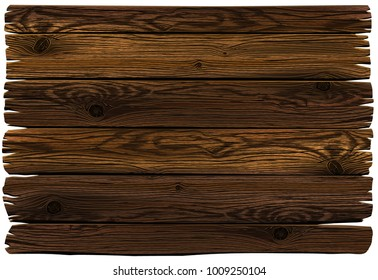 Wooden sign. Realistic highly detailed vector dark grunge wooden background. Hand drawn, no tracing.