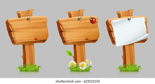 Wooden sign set, 3d vector icon set