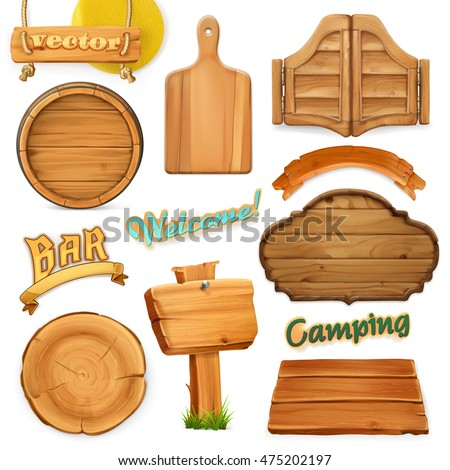 wooden sign set template logo emblem stock vector royalty free
