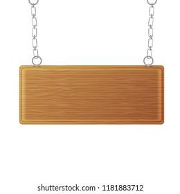 Wooden sign , signboard. vector illustration