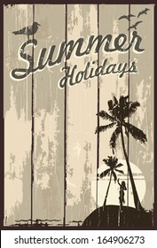 Wooden sign with text summer holidays and hula girl silhouette