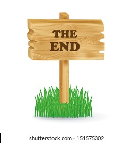 """wooden sign with """"the end"""" concept isolated on white"""