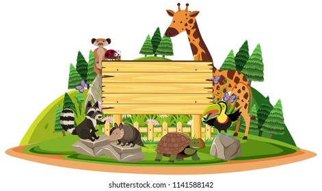 Wooden sign with wild animals illustration