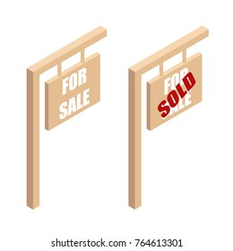 Wooden sign-Board ads for sale and sold.Board with the ad property for sale in isometric view. vector illustration isolated from background.