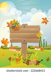 wooden signboard in the autumn background