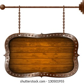 Wooden signboard with metal rim on the chains