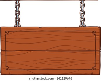 wooden signboard on the metal chains