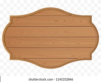 Wooden signboard. Wood texture. Old sign isolated. Vector eps10