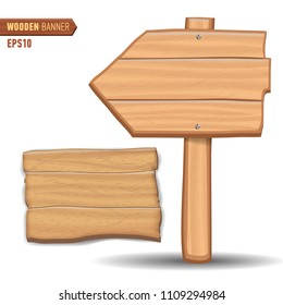 Wooden signboards, vector wood arrow sign billboard set.