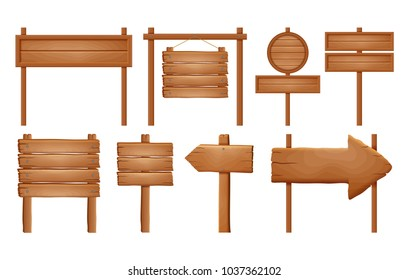 Wooden signboards, wood arrow sign set. Empty signboard banner collection isolated on white background. Wooden sign boards and arrows. Vector signs.vector ilustration