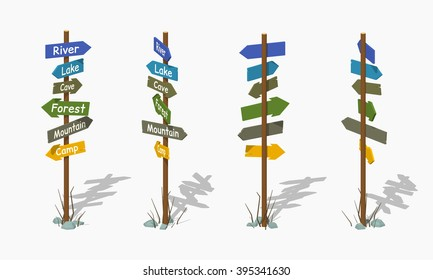 Wooden signpost with the colorful arrows. 3D lowpoly isometric vector illustration. The set of objects isolated against the white background and shown from different sides
